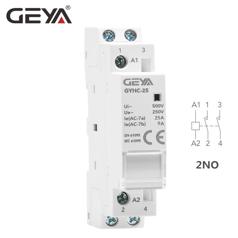 Carril Din automático Modular hogar Contactor AC220V 2P 16A 20A 25A 2NC...