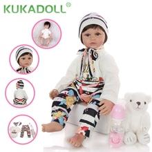 KUKADOLL Simulation 24 Inch Reborn Bbaies Doll 60 CM Cloth Body Stuffed New Style Bonecas Reborn Princess Doll For Kid Best Gift