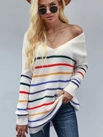 striped sweater v neck pull femme long sleeve top sueters de mujer pullover sweaters for women fashion swetry feminino grunge