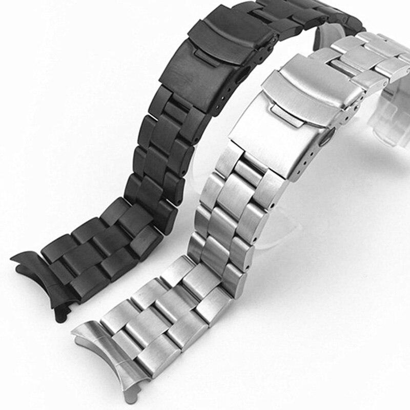 20mm 22mm Acero inoxidable correa de reloj pulsera correa de reloj extremos curvados muñequera mariposa hueco curvado extremo