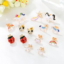 2020 new korean fashion kids jewelry mixed small enamel animal pet dog unicorn stud earrings for wom