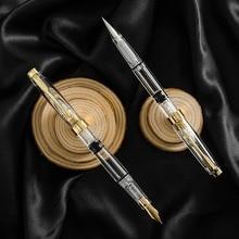 Transparente pluma estilográfica con émbolo tinta pincel de caligrafía estudiante papelería escolares pluma para caligrafía EF suministros de escritura