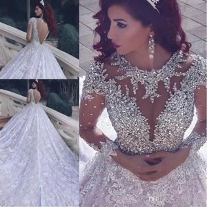 Glamourous Rhinestone Crystal Wedding Dresses Lace Long Train Church Country Wedding Gown Muslim Backless Long Sleeve Bride 2020