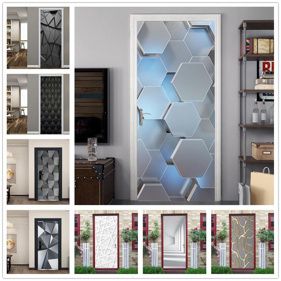 2pcs/set 3D View Hexagon Door Sticker Vinyl Peel and Stick Wallpaper Waterproof Removable Poster Hom