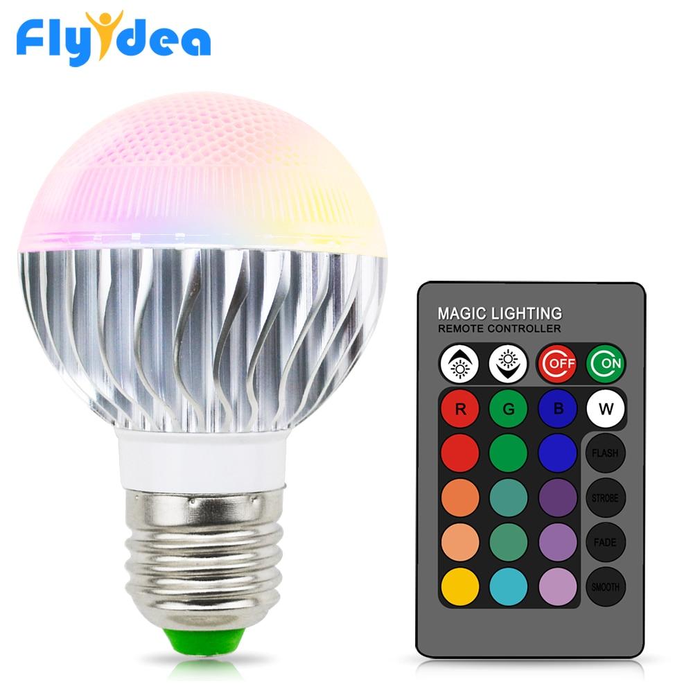 E27 16 Color magia bombilla de luz para hogar 110V 220V Vacaciones regulable etapa luz interior lámpara + 24key Control remoto inteligente por infrarrojos Control