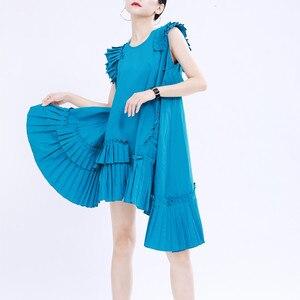 2020 солевое милое женское летнее свободное платье из большого платикодона нестандартное Плиссированное расширяющееся платье