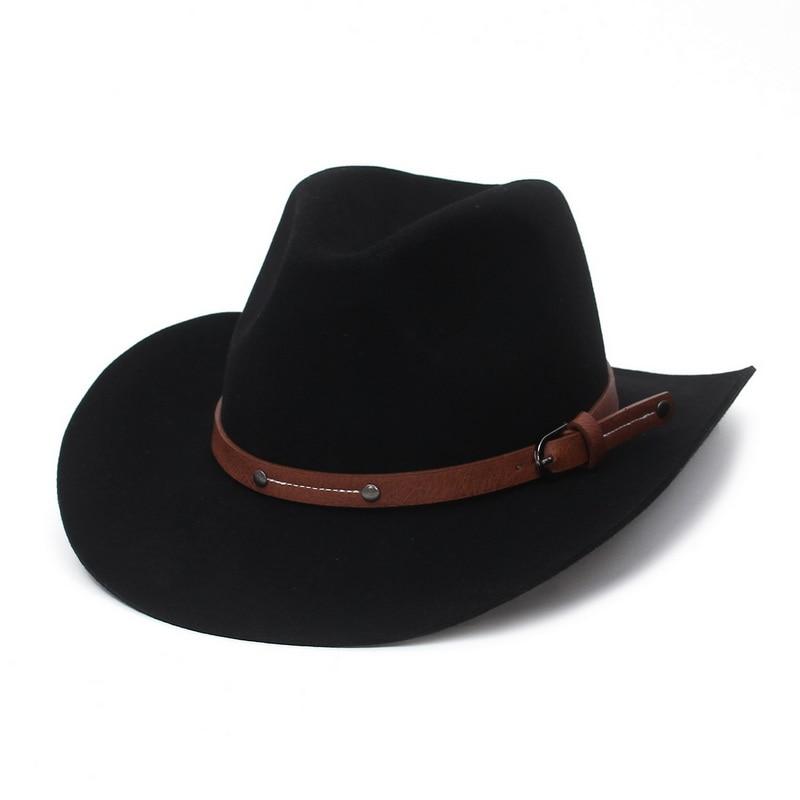 2021 Fashion Wool Fedora Hat For Women Chapeau Black Hats For Men Simple Wide Brim Four Seasons Fema