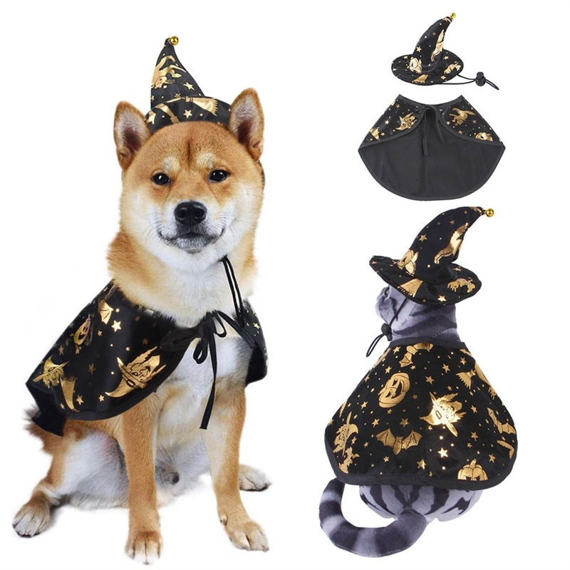 halloween magician style cotton coat cap suit for pet cat dog white black s Funny Dog Cloak Pet Costume Halloween Cosplay Print Wizard Cat Costume Suit For Pet Dog Cat Hat Decoration Party Dressing