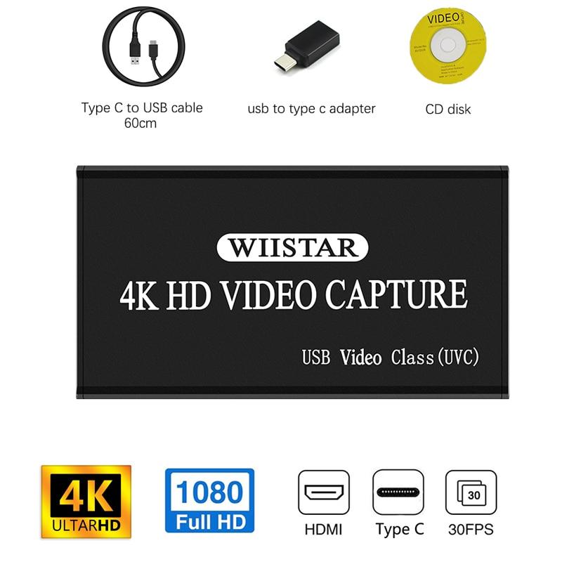 Карта захвата видео Wiistar USB, устройство для захвата видео HDMI на USB Type C 1080P HD, отмена видео, для PS4, игр, прямых трансляций, ОС Windows/Linux