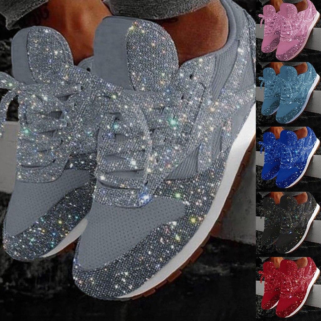 Moda mujer Casual transpirable adorno de cristal con cordones clásicos Tenis Masculino calzado deportivo zapatillas