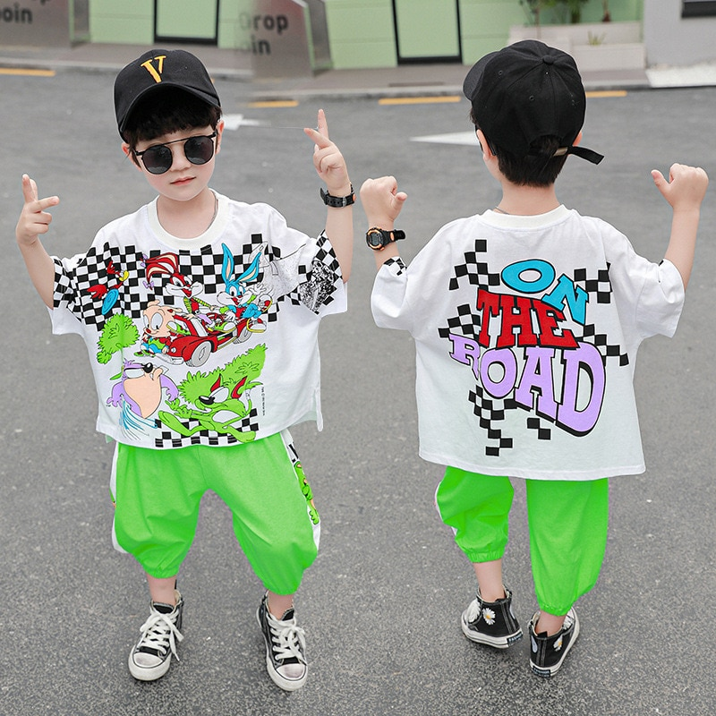 2021 Summer New Kid Boy Korean Version Set Cartoon Letter Color Printing Children's Fashion Short-sleeved Two-piece Sets BT92  - buy with discount