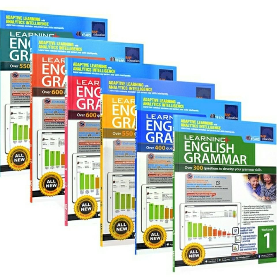 6 Books 7-12 years old SAP Learning Grammar Workbook Singapore grammar exercise book set