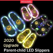 NYCOOL Upgrade Parent-child Led Light Up Shoes Smile Face Cartoon Luminous Slippers Kids Shoes for G
