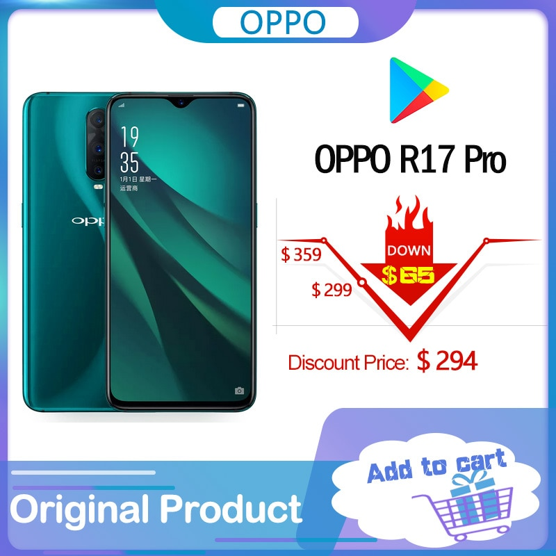 Перейти на Алиэкспресс и купить Оригинальный стеклянный AMOLED-экран OPPO R17 PRO 6,4 дюйма, 3700 мАч, 65 Вт, Super VOOC, 8 ГБ + 128 ГБ, сканер отпечатка пальца