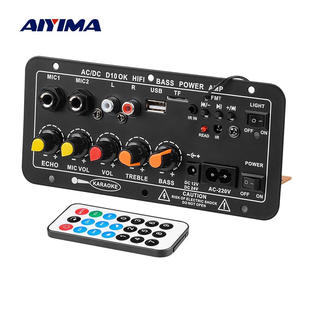 Amplificadores duplos do karaoke do microfone do subwoofer do amplificador ac220v 12v 24v mono de aiyima bluetooth para 6-12 Polegada oradores