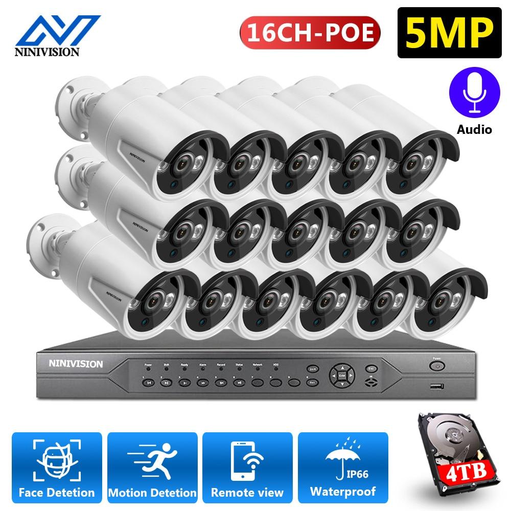 H.265 + 16CH 4K/5MP POE CCTV الأمن نظام 5MP POE سوني IP كاميرا كشف الوجه في الهواء الطلق CCTV نظام المراقبة بالفيديو كيت