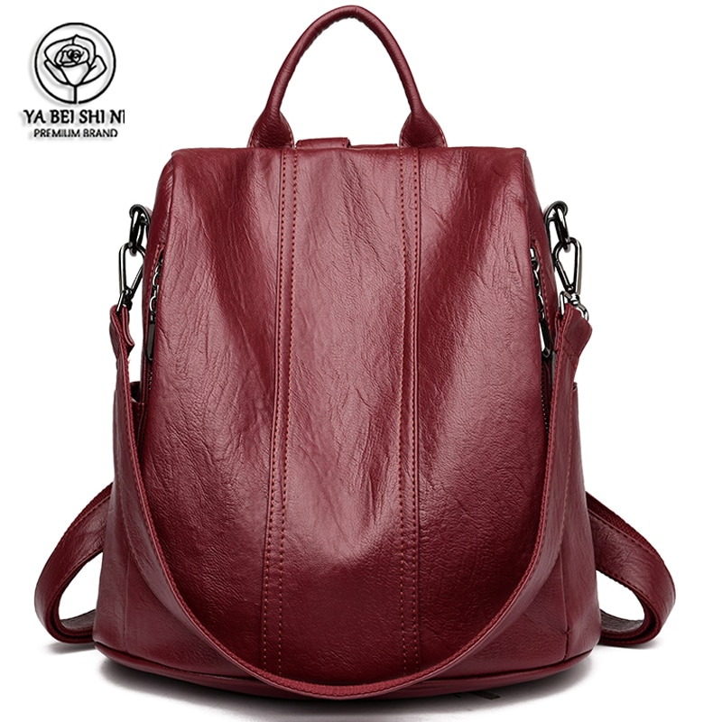 المرأة مقاوم للماء مكافحة سرقة حقيبة ظهر مصنوعة من الجلد حقائب للبنات الإناث حقيبة كتف متعددة الوظائف حقيبة السفر Mochilas