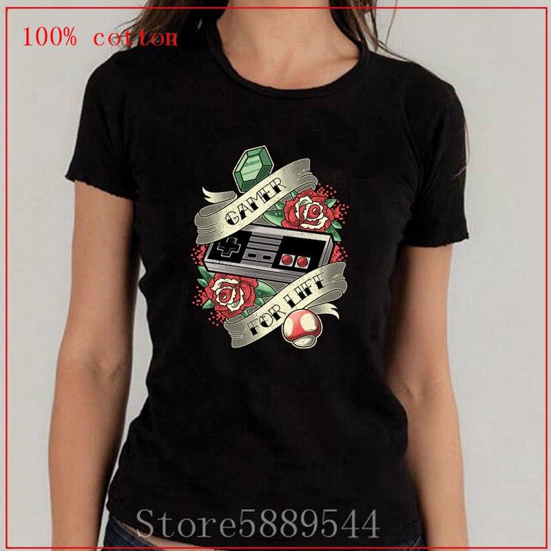 Interessant Video Game TV Gamer Für Leben 100% Baumwolle Stoff Casual Streetwear Frauen Tops T-Shirt Kurzarm T