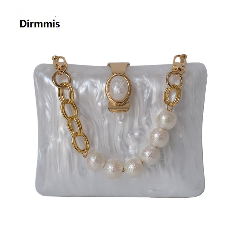 New Acrylic Brand Fashion Women Wedding Evening Bags Marble White Solid Handbags Luxury Should Vintage Pearl Clutch