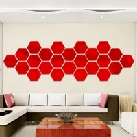colorful geometric hexagon decortive wall sticker red gold black silver 3d graphics acrylic waterproof wall stickers home decor