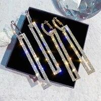 fashion exaggerated set auger rectangle earrings south korea earrings long full female diamond stud earrings