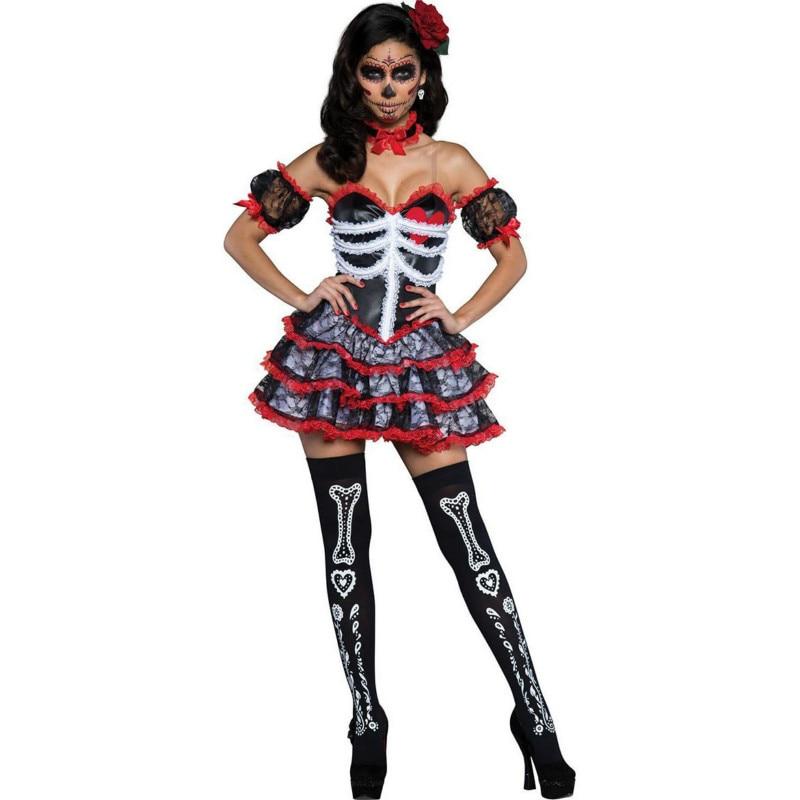 Mulher noiva vampiro crânio traje adulto halloween carnaval festa mexicana dia dos mortos vestido sexy cosplay traje para mulher