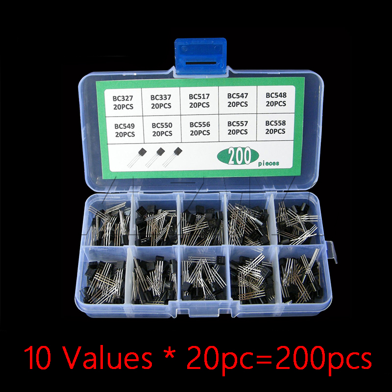 Transistor Kit box Set BC327 BC337 BC517 BC547 BC548 BC549 BC550 BC556 BC557 BC558 diode Assort Mix Pack 10Values * 20pc=200pcs