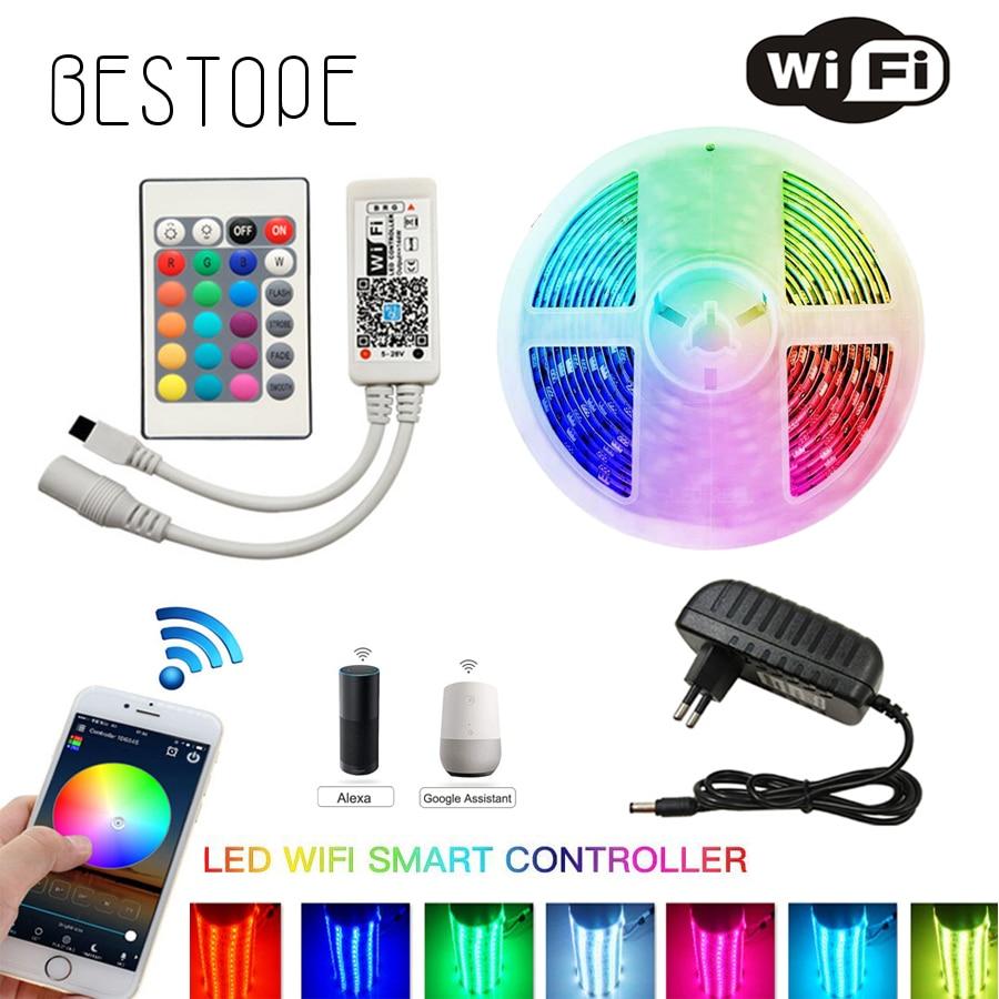 IR WIFI LED Strip Waterproof 5M 15M 20M RGB Led Strip Light 5050 RGB Flexible Lighting Ribbon Tape Controller Adapter