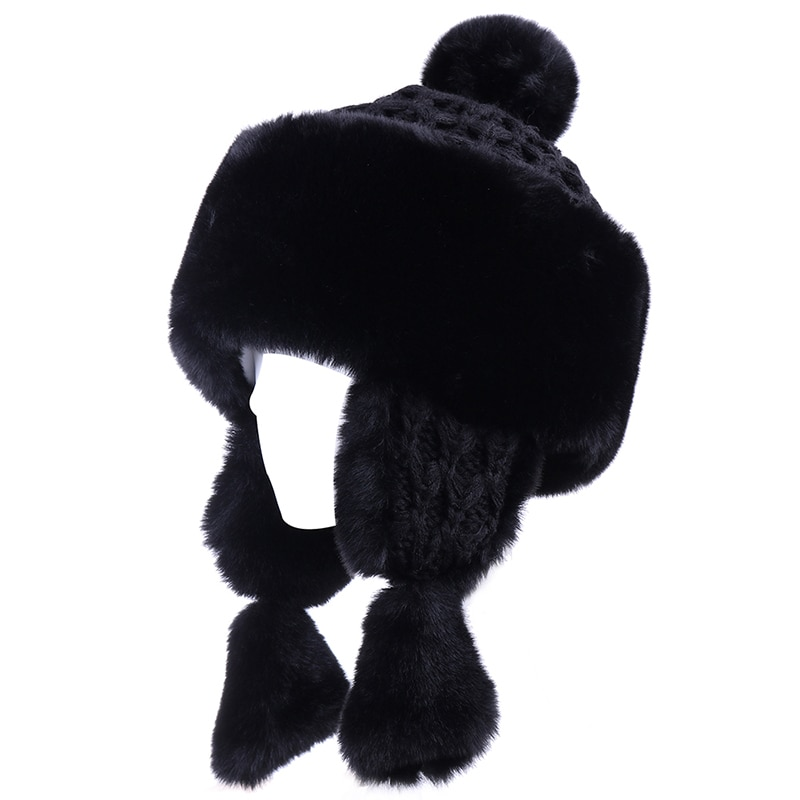 Women Winter Bomber Hats Faux Rabbit Fur EarFlaps Hat Wool Beanies Russian Ushanka Snow Ski Cap