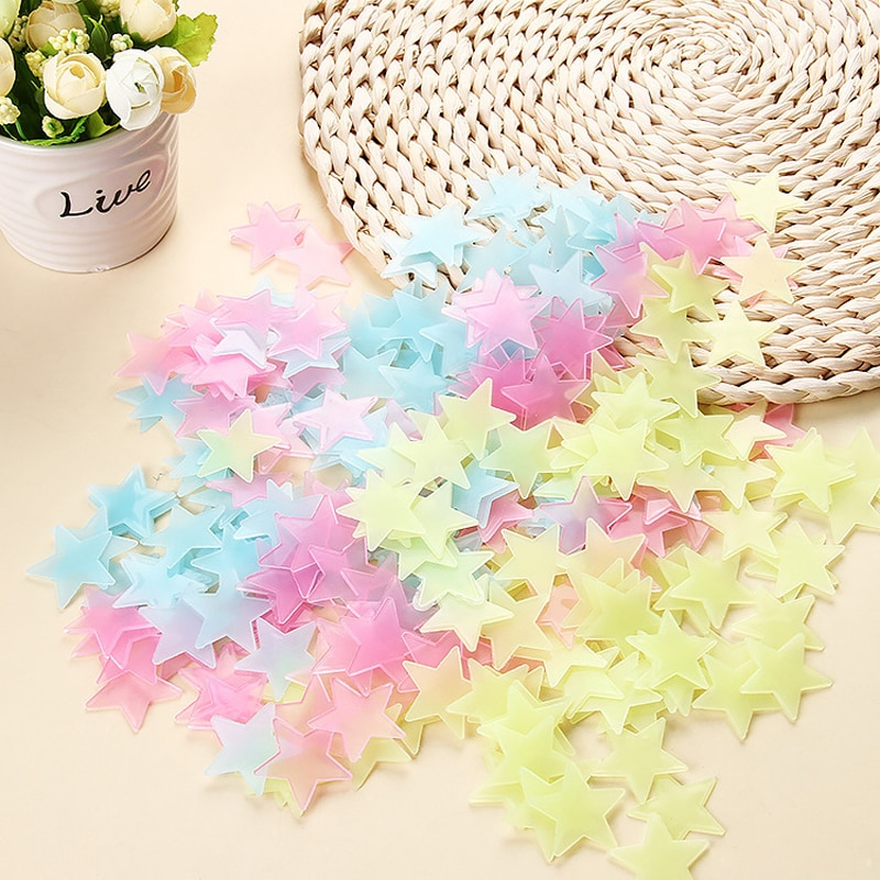 100pcs set fluorescent stars glow in the dark toys for children s bedroom decoration baby kids glow pentagram adhesive stickers New Glow In Kids Bedroom  Fluorescent Glow In The Dark Stars Glow Wall Stickers Stars Luminous  glow sticker color 100pcs