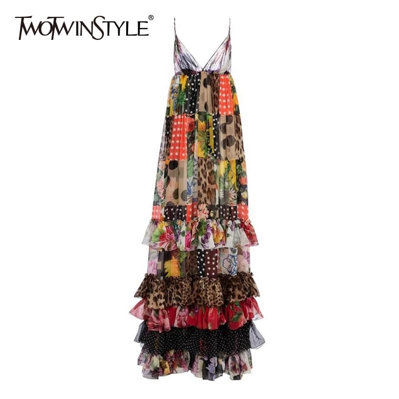 TWOTWINSTYLE البوهيمي المرقعة الكشكشة فستان بكتافة للنساء الخامس الرقبة أكمام مطبوعة فساتين الصيف الإناث موضة جديدة الملابس