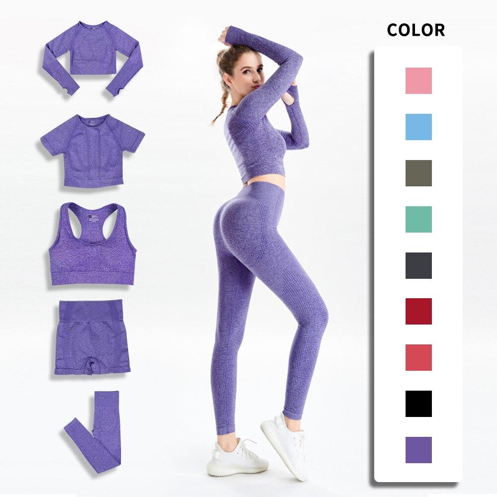Conjunto de Yoga sin costuras para mujer de ropa deportiva para gimnasio...
