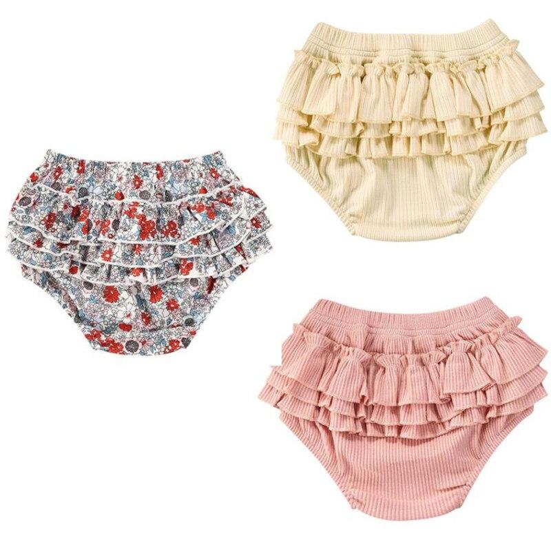Pantalones cortos de niño niña, pantalones bombachos de verano con volantes, pantalones de verano con estampado de flores, parte de abajo amplia en capas, ropa a rayas de cintura alta