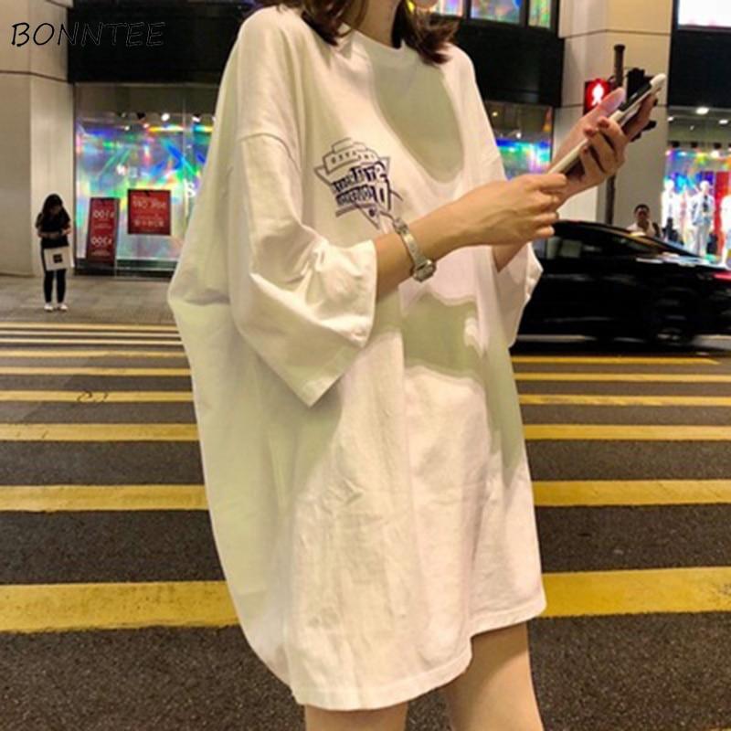T-shirts Frauen Halbe Hülse Oansatz Verlängern Lose Streetwear Brief Druck Chic Sommer Kleidung Harajuku Weiche Dünne Allgleiches