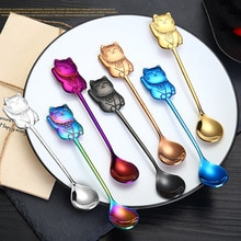 14cm Stainless Steel Lucky Cat Spoon for Plates Mini Spoon Food Fruit Cake Dessert Ice Cream Coffee Spoon Kitchen Accessories