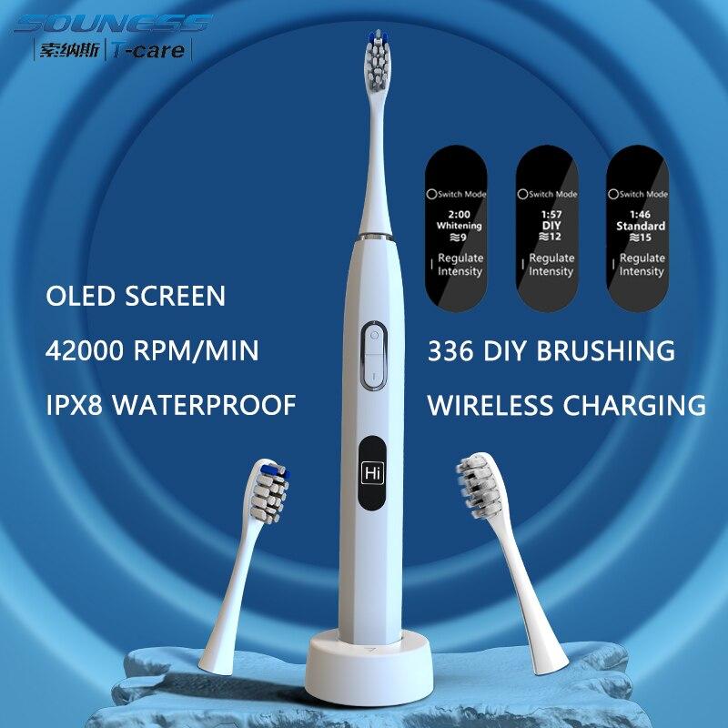 H6 لتقوم بها بنفسك فرشاة أسنان صوتية بالكهرباء شاشة OLED اللاسلكية تهمة IPX8 مقاوم للماء فرشاة الأسنان الكهربائية 5 طرق سونيك فرشاة الأسنان