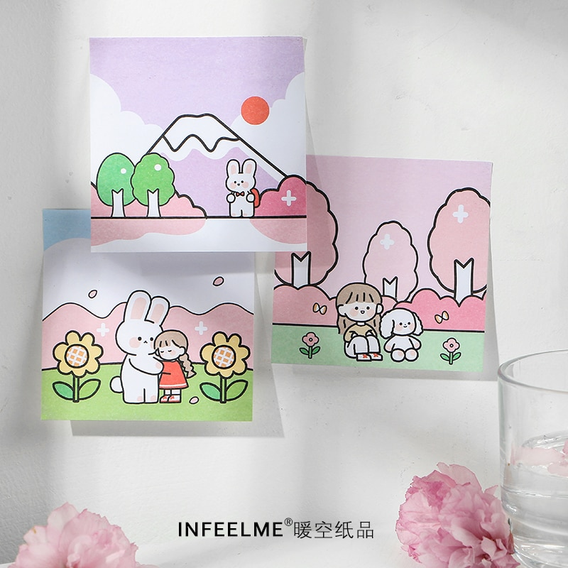 sakura 30Pcs DIY Post It Label Kawaii 2020 Hot Sale Memo Pad Sticky Notes N Times Sticky Notes Bookmark Post It Label