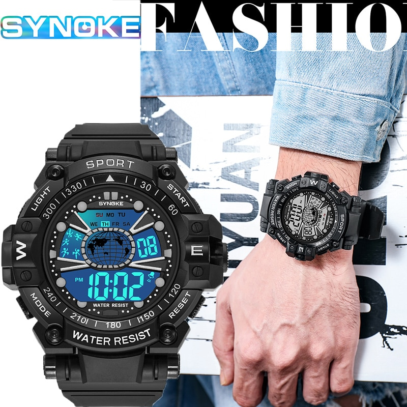 Фото - SYNOKE Digital Watch Men Sport Watches For Men Waterproof Alarm Clock Multifunction Wristwatch Male Relogio Digital Masculino 2021 new sport travel lover watches carnival red digital clock gift for men waterproof electronics offers with free shipping