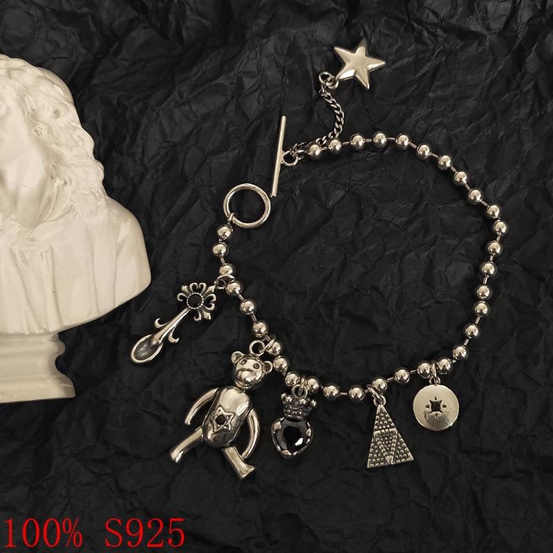 100% s925 verão novas chegadas urso pulseira para as mulheres jóias artesanais coreano moda personalidade animal pingente pulseira quente