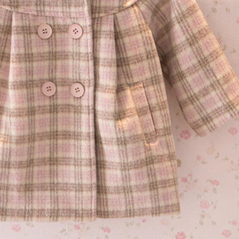 Шерстяная куртка для маленьких девочек клетчатое длинное двубортное теплое твидовое пальто с отворотом для малышей Верхняя одежда для малышей на весну, осень и зиму-4