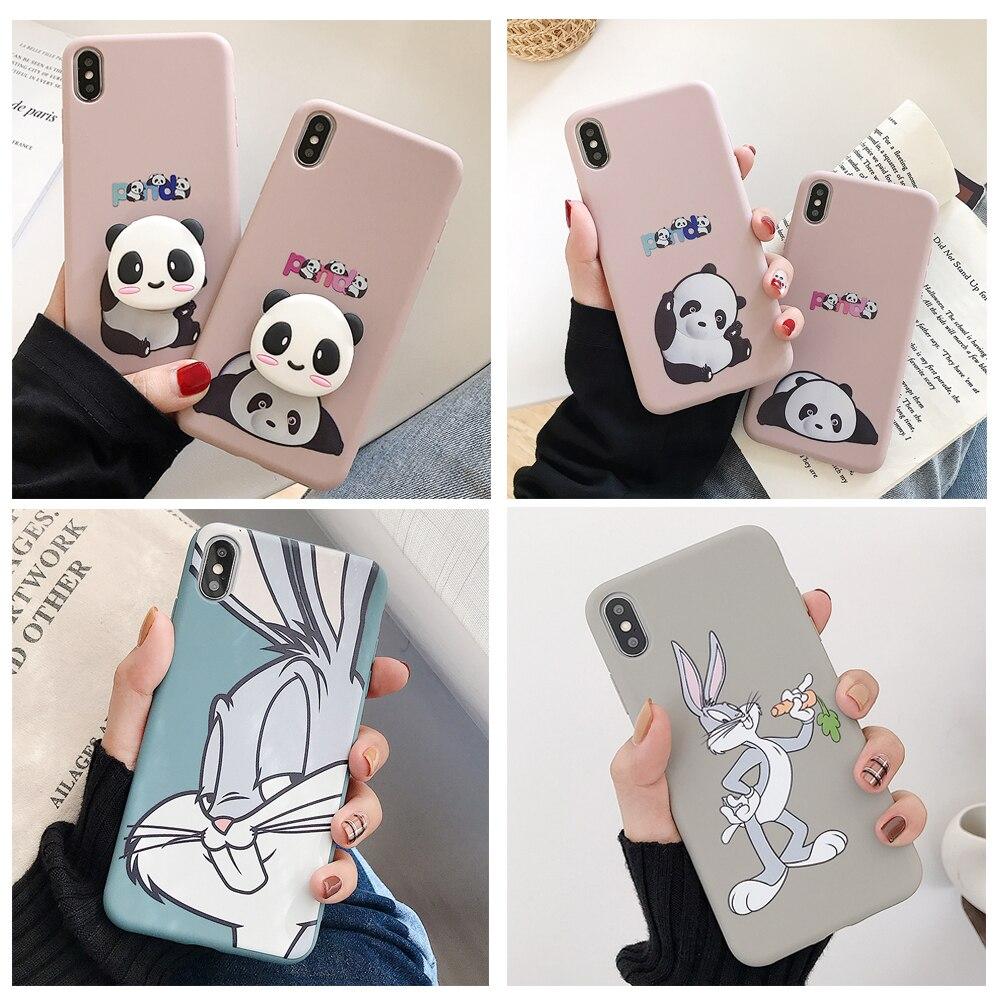 Funda de Panda con conejo suave y líquido para iPhone 11 Pro X XS Max XR 6 6S 7 8 Plus, funda de teléfono con soporte y soporte