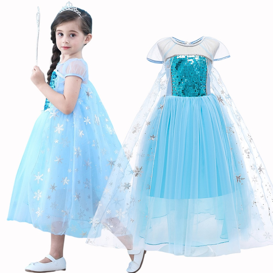 halloween children s costume cosplay girl horror vampire death ghost clothes little witch long sleeve costume girls prom dress Children Princess Costume Elsa Dress Kids Clothes Girls Cosplay Costume Baby Girl Christmas Halloween Evening Dress 3-10 Years