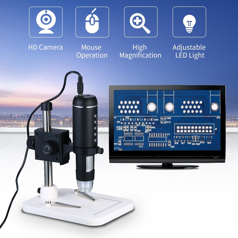 Microscopio Digital USB de aumento con soporte con 8 luces LED de brillo soporte ajustable ratón y conectar con ordenador