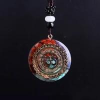 3pcs chakra energy necklaces pendulum healing meditation necklace for women men jewelry rope resin geometric amulet wholsales