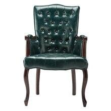 Chaise détude en bois massif, chaise de bureau, style américain, rétro, style ancien, style européen, à manger, avec bras et boutons, siège de tigre