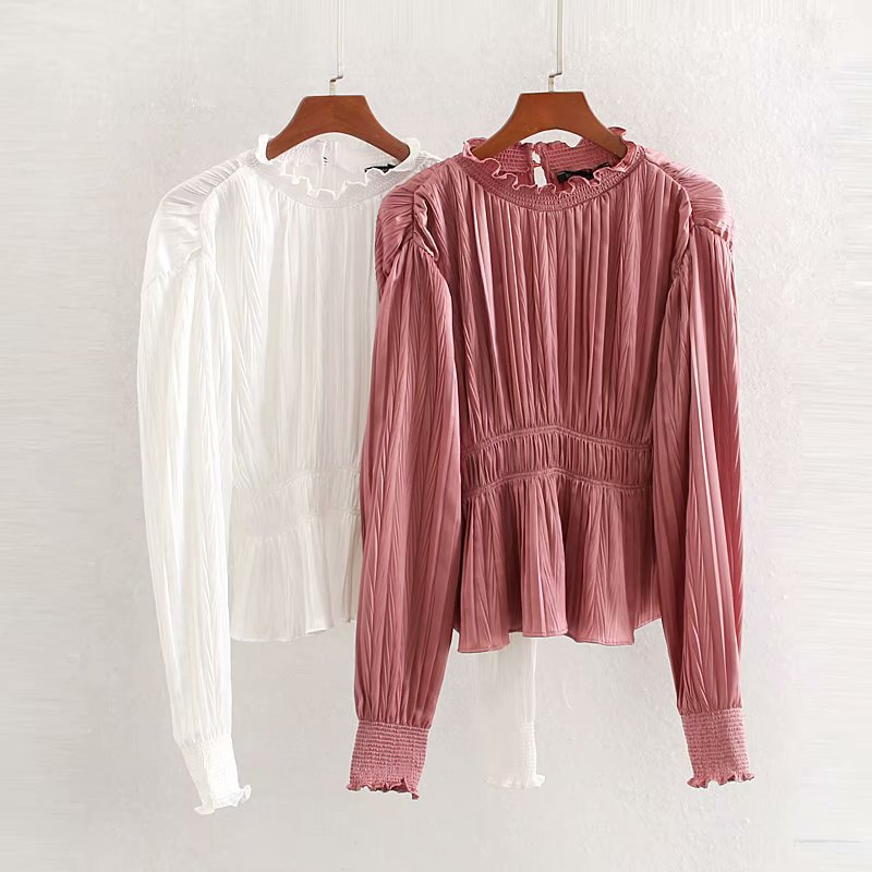 Mujer elegante blanco rosa Blusa de manga larga elástico plisado cintura femenina camisa Casual Lisa elegante Tops Blusas