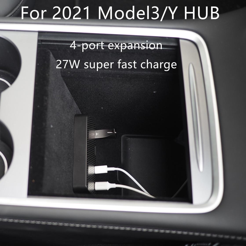 AliExpress - For 2021 Tesla Model3 / Y HUB Tesla Model 3 Accessories USB Splitter Hub Docking Station Speed Max Hub Extender Charger
