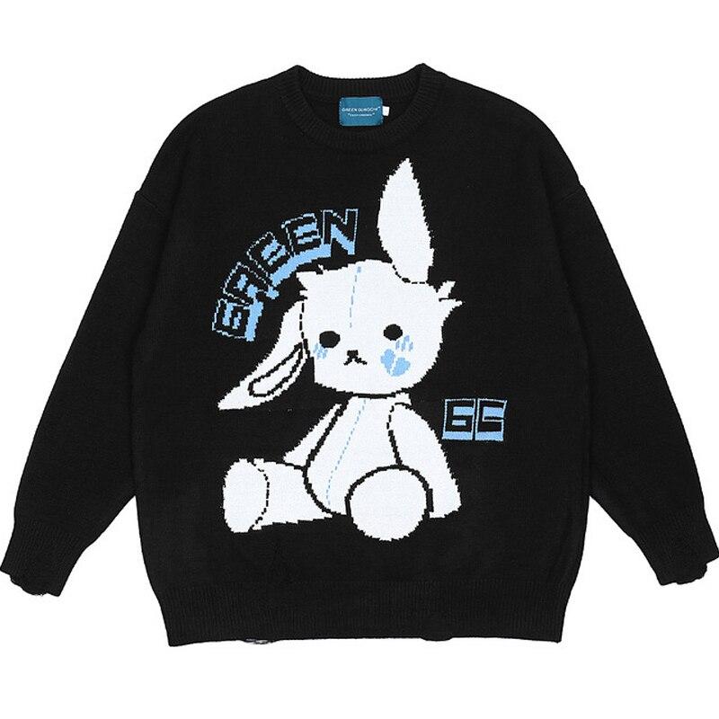 زوجين الكرتون الأرنب سترة جاكار رجالي Harajuku الهيب هوب فضفاض بلوفر مغزول سحب أوم الذكور الكروشيه سترات الخريف عادية