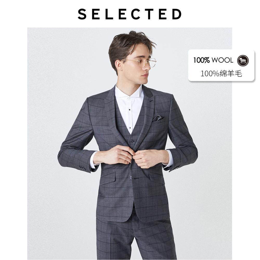 بليزر رجالي غير رسمي منقوش من الصوف 100% ، قصة عادية ، ملابس عمل ، 41935Z501