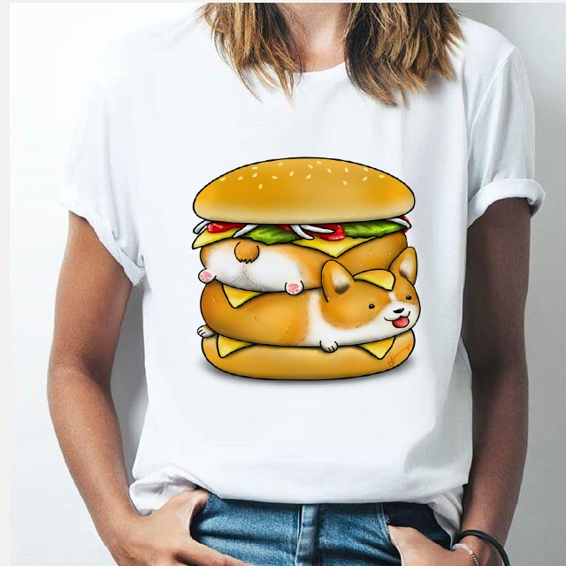 Lustige cartoon corgi sushi womenswear t-shirt harajuku kawaii 90s freizeit tops hund ass druck muster ästhetischen T-shirt weibliche